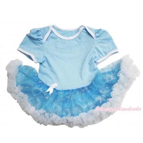 Frozen Elsa Light Blue Baby Bodysuit Snowflakes Organza Pettiskirt JS3910