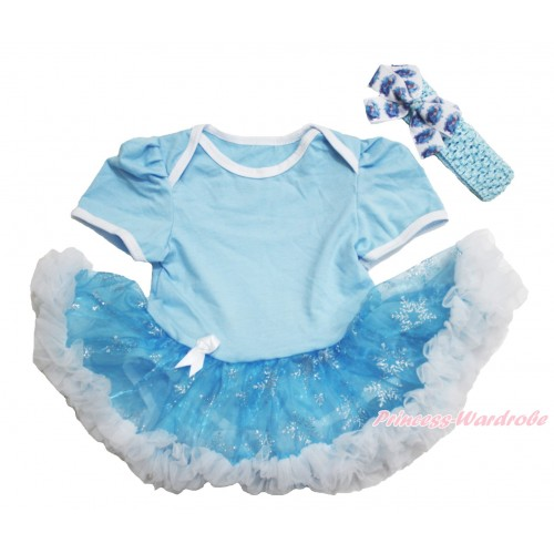Frozen Elsa Light Blue Baby Bodysuit Snowflakes Organza Pettiskirt & Light Blue Headband Elsa Silk Bow JS3915