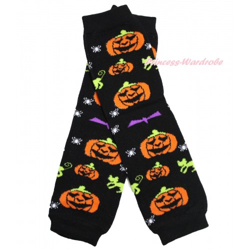 Halloween Newborn Baby Pumpkin Black Leg Warmers Leggings LG274