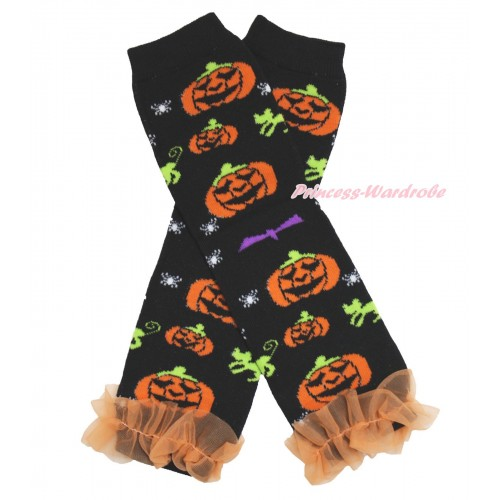 Halloween Newborn Baby Pumpkin Black Leg Warmers Leggings & Orange Ruffles LG275
