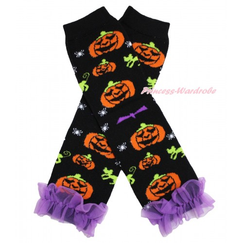 Halloween Newborn Baby Pumpkin Black Leg Warmers Leggings & Dark Purple Ruffles LG277