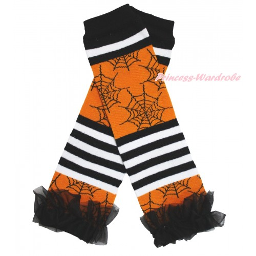 Halloween Newborn Baby Black White Orange Striped Spider Web Leg Warmers Leggings & Black Ruffles LG281