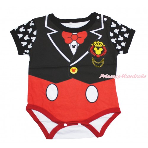 Mickey Black Red Baby Bodysuit Jumpsuit R5