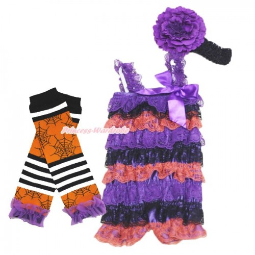 Halloween Dark Purple Black Orange Lace Ruffles Romper & Purple Bow & Straps with Headband & Leg Warmer Set RH159