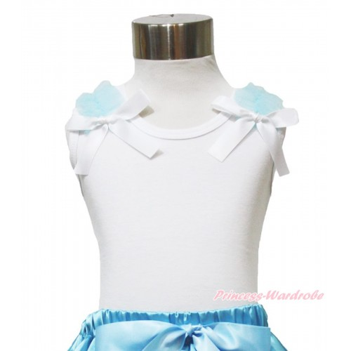 White Tank Top Light Blue Ruffles & White Bow TB881