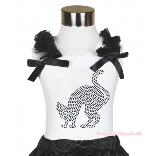 Halloween White Tank Top Black Ruffles & Bow & Sparkle Rhinestone Black Cat Print TB883