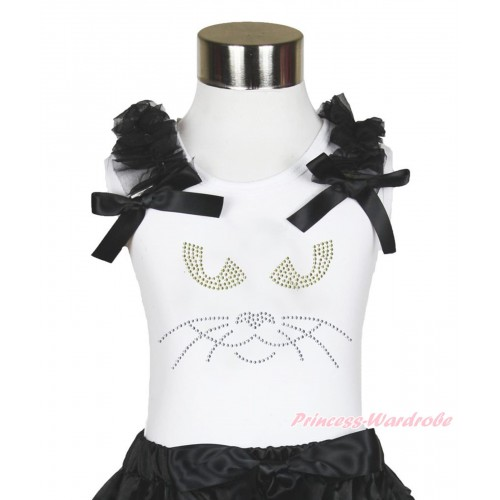 Halloween White Tank Top Black Ruffles & Bow & Sparkle Rhinestone Black Cat Face Print TB884