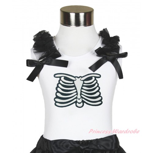 Halloween White Tank Top Black Ruffles & Bow & Skeleton Rib Print TB886