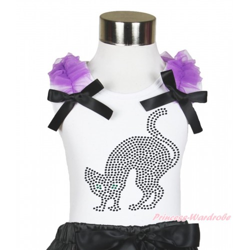 Halloween White Tank Top Dark Purple Ruffles & Black Bow & Sparkle Rhinestone Black Cat Print TB887