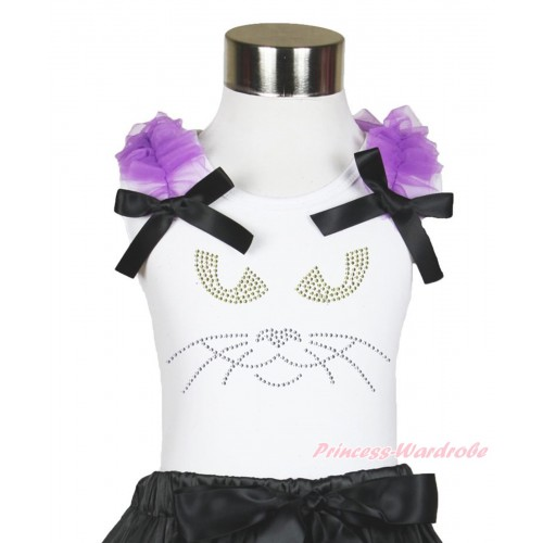 Halloween White Tank Top Dark Purple Ruffles & Black Bow & Sparkle Rhinestone Black Cat Face Print TB888