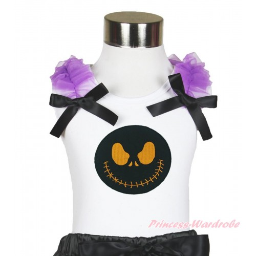 Halloween White Tank Top Dark Purple Ruffles & Black Bow & Nightmare Before Christmas Jack TB889