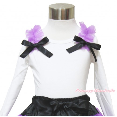 White Long Sleeves Top Dark Purple Ruffles Black Bow TW472