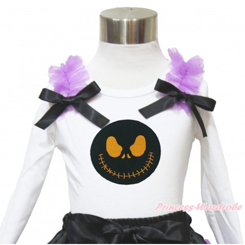 Halloween White Long Sleeves Top Dark Purple Ruffles Black Bow & Nightmare Before Christmas Jack TW476