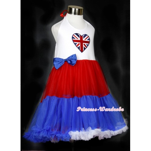 Red White Royal Blue ONE-PIECE Petti Dress with Patriotic British Heart Print With Royal Blue Satin Bow LP23