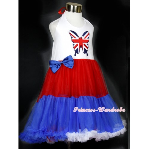 Red White Royal Blue ONE-PIECE Petti Dress with Patriotic British Butterfly Print With Royal Blue Satin Bow LP24
