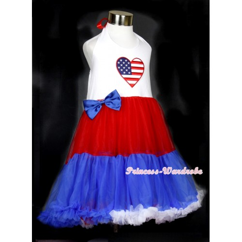 Red White Royal Blue ONE-PIECE Petti Dress with Patriotic American Heart Print With Royal Blue Satin Bow LP25