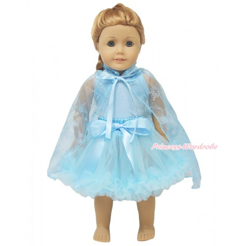 Frozen Light Blue Tank Top & Light Blue Pettiskirt & Sparkle Snowflakes Light Blue Organza Cape American Girl Doll Outfit DO055