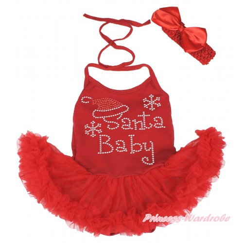 Xmas Hot Red Baby Halter Jumpsuit Pettiskirt & Sparkle Rhinestone Santa Baby & Red Headband Silk Bow JS3993