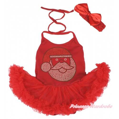 Xmas Hot Red Baby Halter Jumpsuit Pettiskirt & Sparkle Rhinestone Santa Claus & Red Headband Silk Bow JS3994
