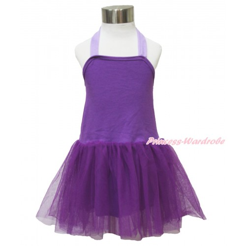 Dark Purple ONE-PIECE Halter Dress LP123