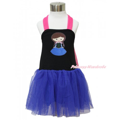 Frozen Hot Pink Black Royal Blue Halter Dress & Princess Anna LP124