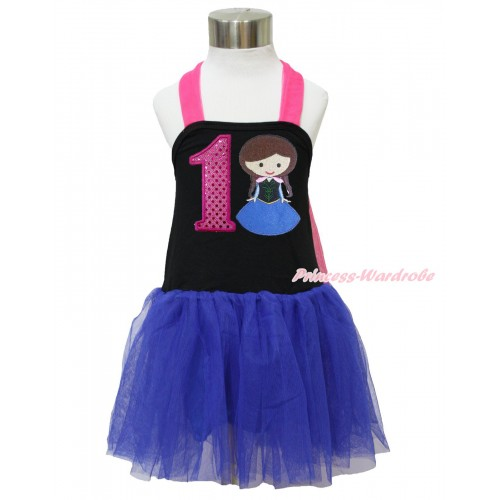 Frozen Hot Pink Black Royal Blue Halter Dress & 1st Sparkle Hot Pink Birthday Number & Princess Anna LP125