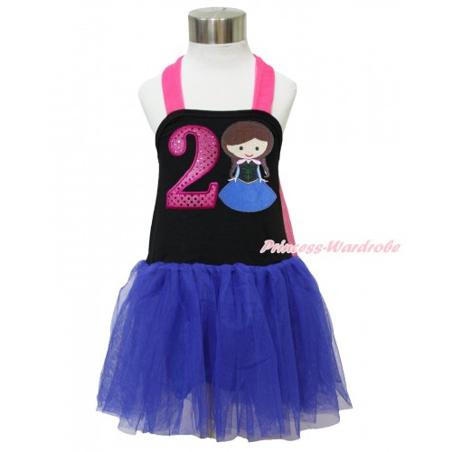 Frozen Hot Pink Black Royal Blue Halter Dress & 2nd Sparkle Hot Pink Birthday Number & Princess Anna LP126