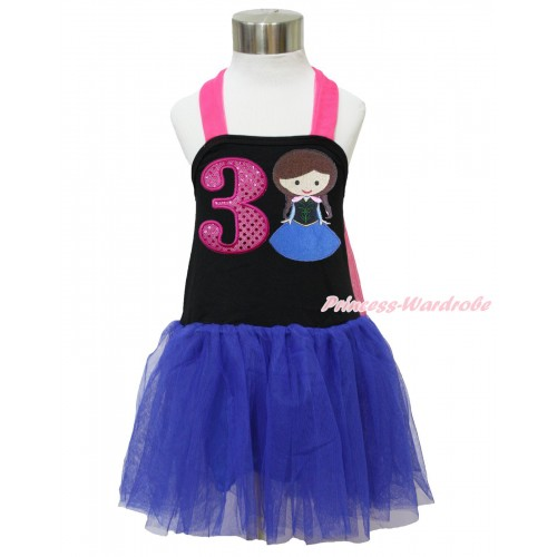 Frozen Hot Pink Black Royal Blue Halter Dress & 3rd Sparkle Hot Pink Birthday Number & Princess Anna LP127