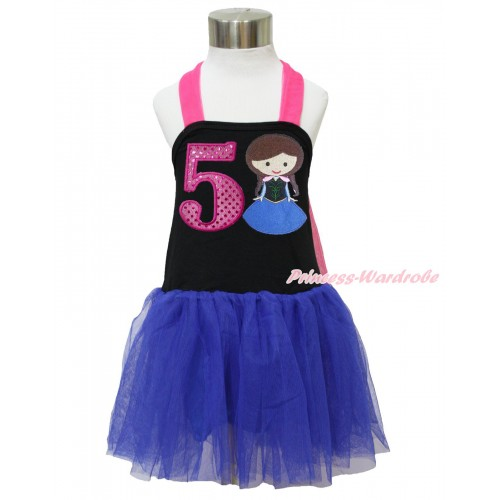 Frozen Hot Pink Black Royal Blue Halter Dress & 5th Sparkle Hot Pink Birthday Number & Princess Anna LP129