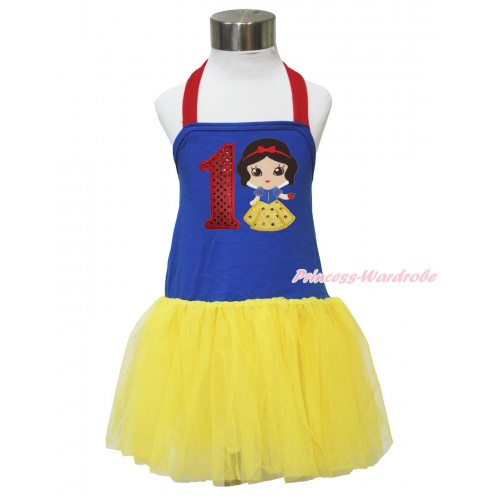 Red Royal Blue Yellow Halter Dress & 1st Sparkle Red Birthday Number & Princess Snow White LP132