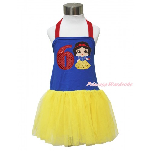 Red Royal Blue Yellow Halter Dress & 6th Sparkle Red Birthday Number & Princess Snow White LP137