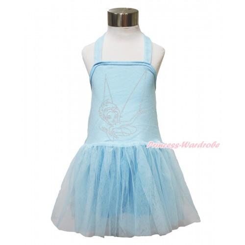 Light Blue Halter Dress & Sparkle Bling Rhinestone Periwinkle LP140