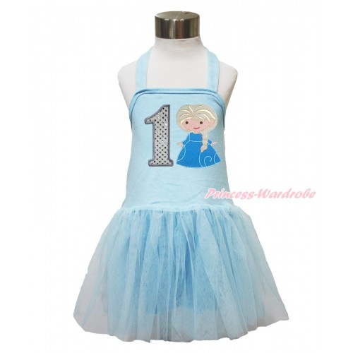 Frozen Light Blue Halter Dress & 1st Sparkle White Birthday Number & Princess Elsa LP141