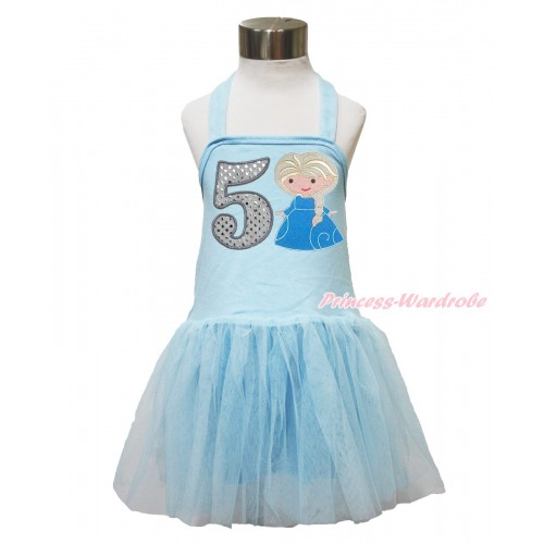 Frozen Light Blue Halter Dress & 5th Sparkle White Birthday Number & Princess Elsa LP145