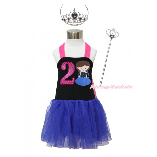 Frozen Hot Pink Black Royal Blue Halter Dress & 2nd Sparkle Hot Pink Birthday Number & Princess Anna & Crown Wand Set LP173
