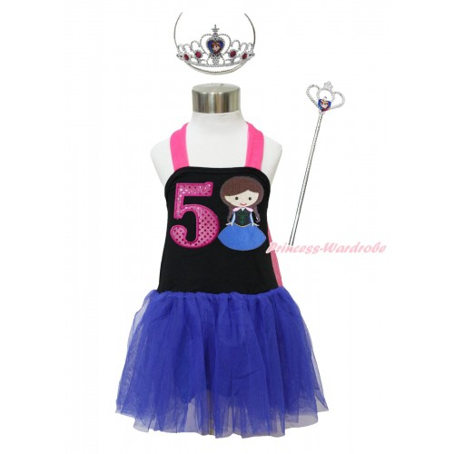 Frozen Hot Pink Black Royal Blue Halter Dress & 5th Sparkle Hot Pink Birthday Number & Princess Anna & Crown Wand Set LP176