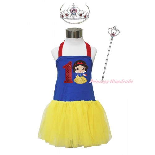 Red Royal Blue Yellow Halter Dress & 1st Sparkle Red Birthday Number & Princess Snow White & Crown Wand Set LP179
