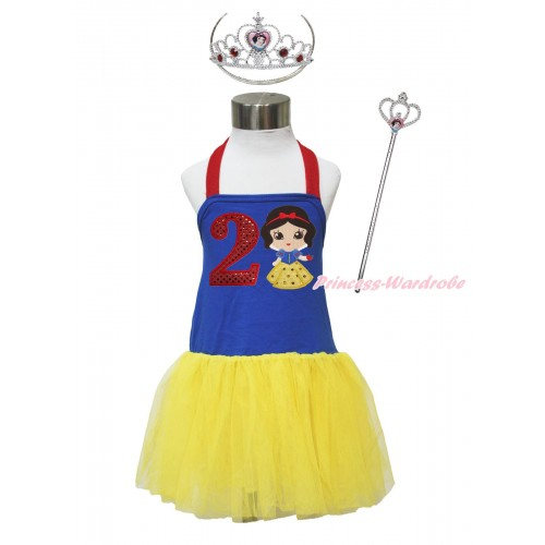 Red Royal Blue Yellow Halter Dress & 2nd Sparkle Red Birthday Number & Princess Snow White & Crown Wand Set LP180
