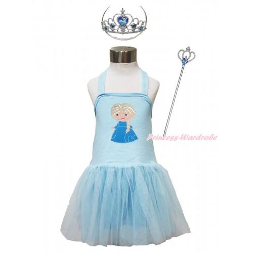 Frozen Light Blue Halter Dress & Princess Elsa & Elsa Heart Crown Wand Set LP186