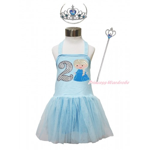 Frozen Light Blue Halter Dress & 2nd Sparkle White Birthday Number & Princess Elsa & Crown Wand Set LP188