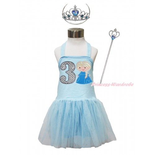 Frozen Light Blue Halter Dress & 3rd Sparkle White Birthday Number & Princess Elsa & Crown Wand Set LP189