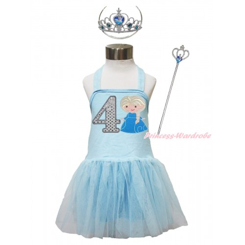 Frozen Light Blue Halter Dress & 4th Sparkle White Birthday Number & Princess Elsa & Crown Wand Set LP190