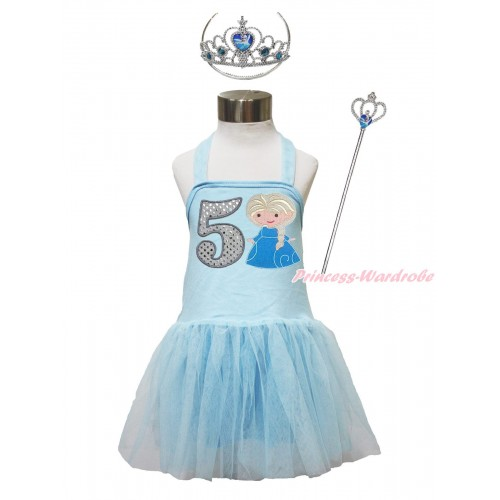 Frozen Light Blue Halter Dress & 5th Sparkle White Birthday Number & Princess Elsa & Crown Wand Set LP191