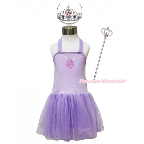 Princess Sofia Lavender Halter Dress & Sparkle Rhinestone Necklace & Sofia Heart Crown Wand Set LP193