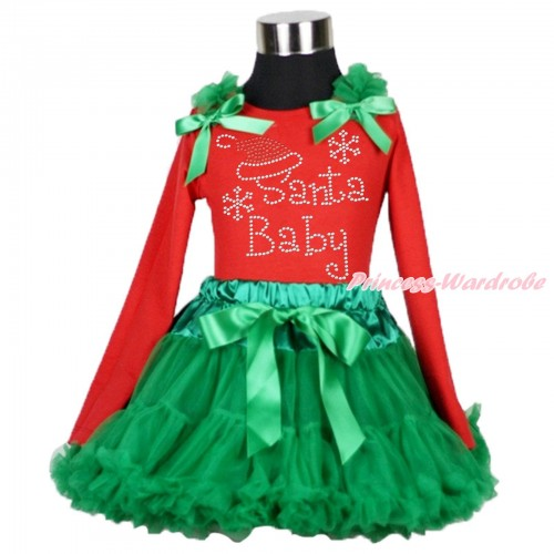 Xmas Red Long Sleeves Top Kelly Green Ruffles & Bow & Sparkle Rhinestone Santa Baby Print  & Kelly Green Pettiskirt MB43
