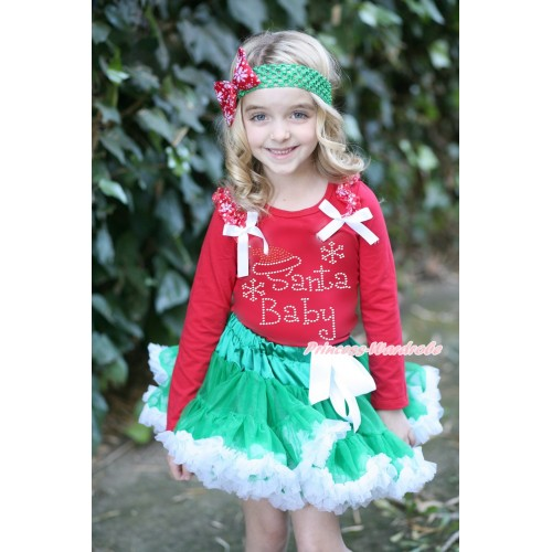 Xmas Red Long Sleeves Top Red Snowflakes Ruffles White Bow & Sparkle Rhinestone Santa Baby Print & Kelly Green White Pettiskirt MB46