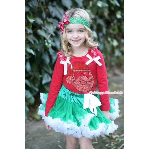 Xmas Red Long Sleeves Top Red Snowflakes Ruffles White Bow & Sparkle Rhinestone Santa Claus Print & Kelly Green White Pettiskirt MB47