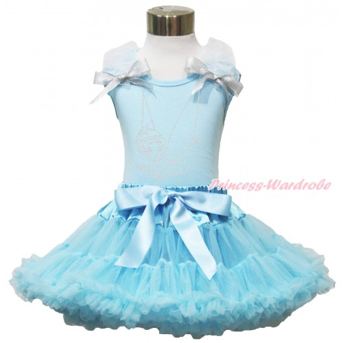 Light Blue Tank Top White Ruffles Sparkle Silver Grey Bow & Sparkle Rhinestone Periwinkle & Light Blue Pettiskirt MH255