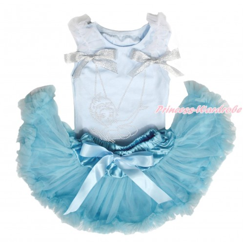 Light Blue Baby Pettitop White Ruffles Sparkle Silver Grey Bows & Sparkle Rhinestone Periwinkle & Light Blue Newborn Pettiskirt NG1588