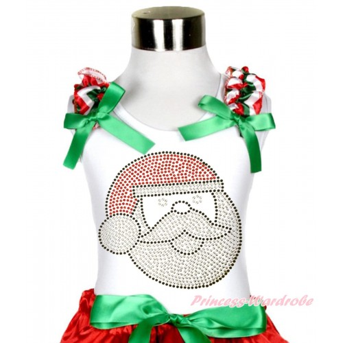 Xmas White Tank Top Red White Green Chevron Ruffles Kelly Green Bow & Sparkle Bling Rhinestone Santa Claus Print TB936